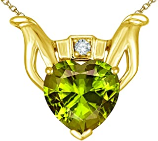 Star K Claddagh Love Pendant Necklace with 8mm Heart Solid 10k Gold