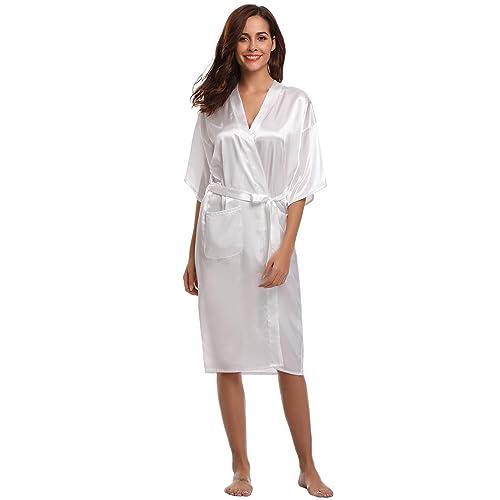 Aibrou Women s Kimono Robe Long Dressing Gowns Classic Satin Silk Wedding  Bridal Bathrobes Nightwear 5ed43b635