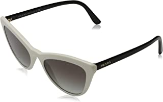 Prada Women's SPR01V SPR/01/V 7S3-0A7 Ivory/Black Cat Eye Sunglasses 56mm