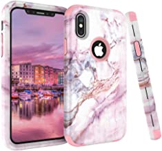iPhone X Case, VPR Marble Stone Pattern Design 3 in 1 Hybrid Cover Hard PC Soft Silicone Rubber Heavy Duty Shock Absorbing Protective Defender Case for iPhone X 2017 43235-66260