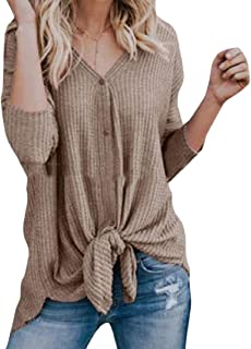 Comaba Women's V Neck Button Open Front Relaxed Top T-shirt Blouse