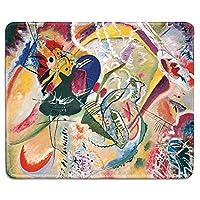アートマウスパッドおしゃれ耐久滑り防止-即興35の有名な抽象美術絵画の天然ゴムマウスパッドおしゃれ耐久滑り防止ワシリーカンディンスキー-ステッチエッジ
