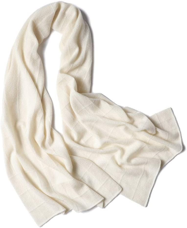 Teerwere Scarf White Knit Plaid Ladies Scarf Thickening Scarf Solid Color Hollow Warm Shawl Wrap Ideal53200cm Scarfs for Women Lightweight (Color : White, Size : One Size)