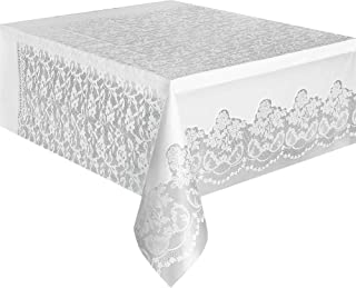 Unique Party 5075 5075-White Plastic Tablecloth, 9ft x 4.5ft, White-Lace, Pack of 1