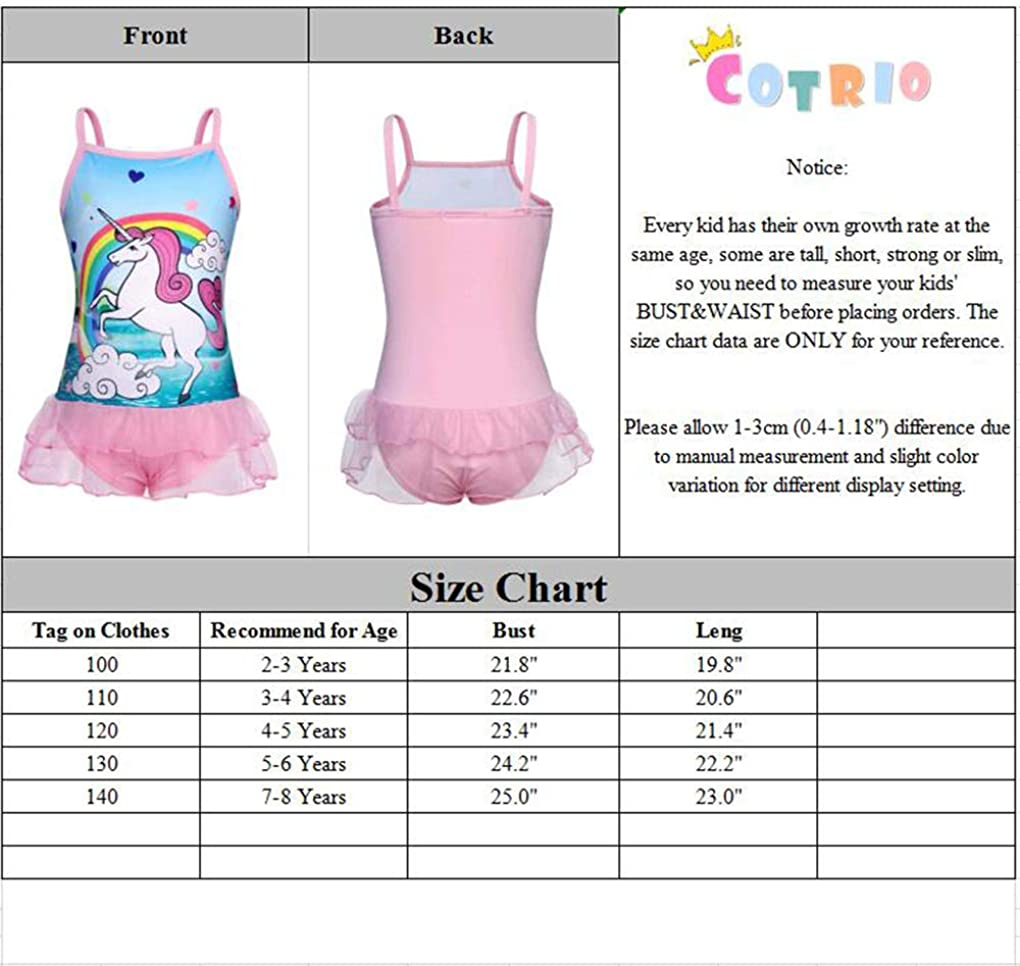 Cotrio Rainbow Unicorn Swimsuit Girls One-Piece Bathing Suit Toddler Swimwear Tankini Swimming Suits Bikini