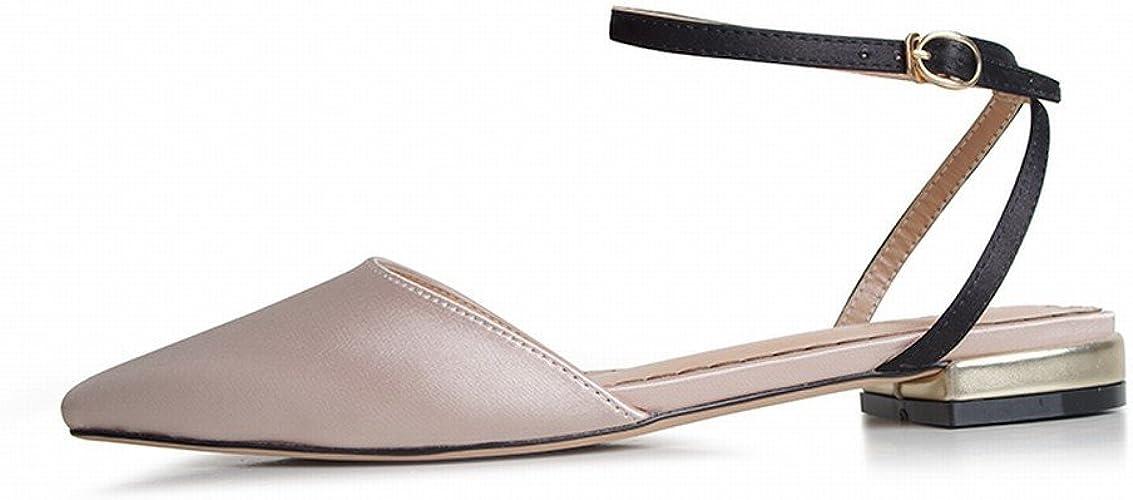 DHG Baotou Sauvage Pointu Rétro Chaussures de Fée Rouge Net,Abricot + Noir,40