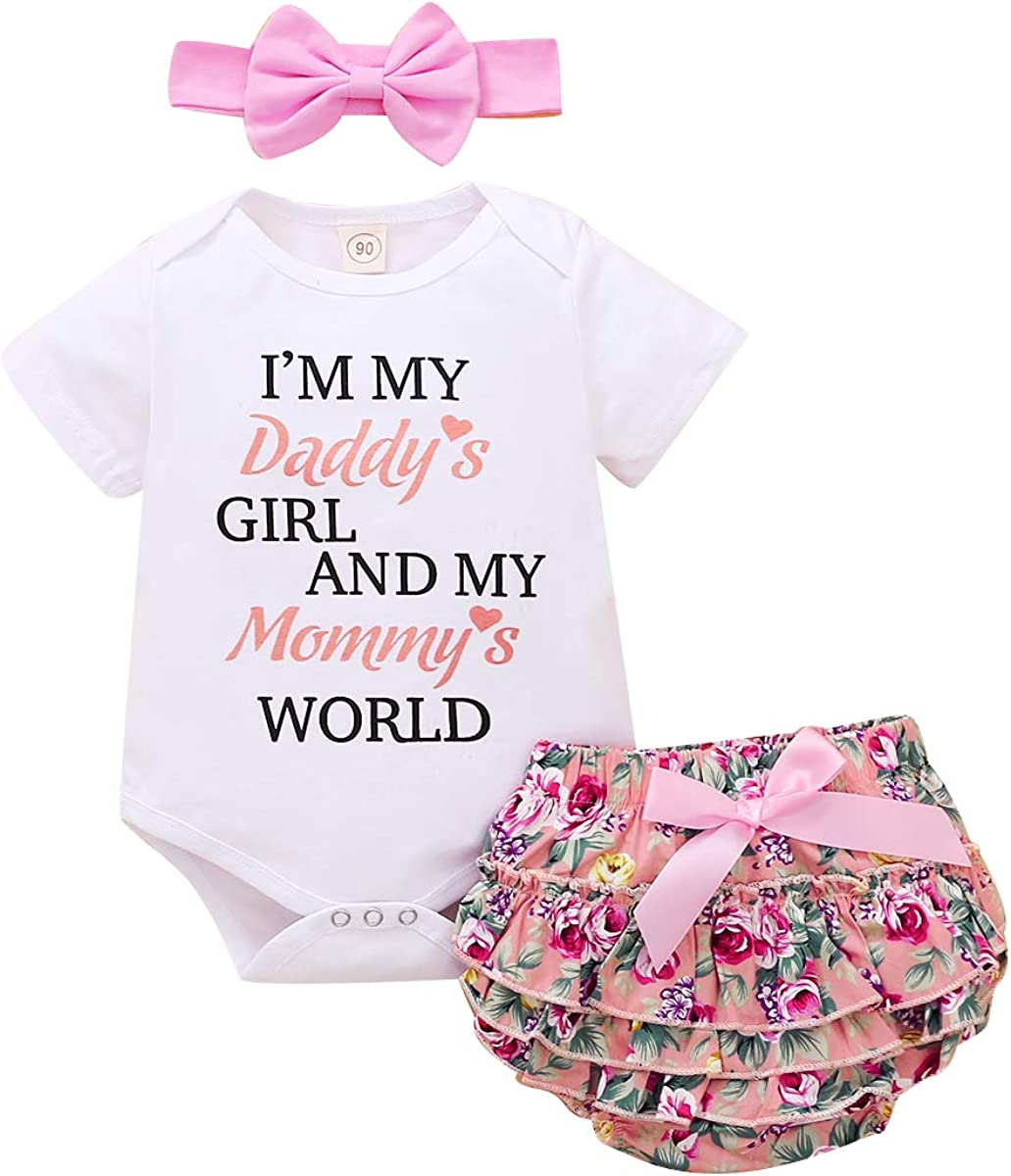 3Pcs Infant Toddler Baby Girl Clothes Set Ruffle Long Sleeve Romper Bodysuit Floral Pants Headband Outfits