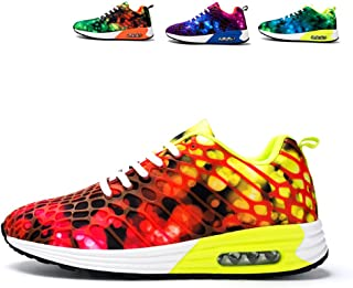 FJSENMEILE lace up Casual Sport Breathable air Cushion Shoes Gifts for Running Men Rose red 35 Camouflage