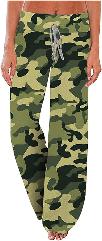 MIVAMIYA Women's Camo Yoga Pants with Pockets Comfy Palazzo Boho Pants Elastic Waist Wide Leg Pajamas Casual Trousers
