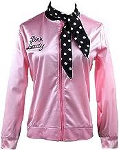 AoMoon 50sCostumesforWomen Vintage Pink Lady Jacket with Scarf