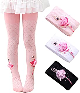 Ehdching Pack of 3 Kids Girls Baby Tightswith Ballet Dance Girl Stockings Pantyhose Tights for 1-9T little girls