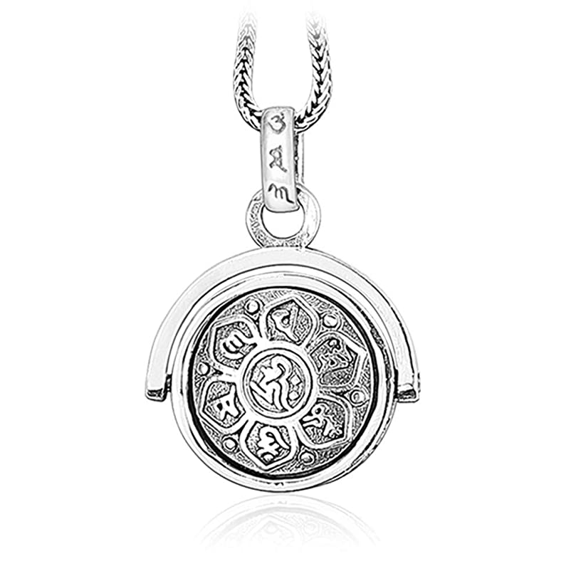 Women's Sterling Silver Pendants Necklaces Retro Charms Jewelry Religion Buddhist Six-Character Proverbs Gifts for Mother (Pendant+Necklace(1.3mm22inch))