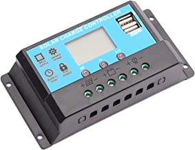 CENTAURUS 10A Solar Charge Controller - Replace Solar Panel Controller 12V/24V PWM Auto Paremeter Adjustable LCD Display Solar Panel Battery Regulator and Dual USB Load Timer Setting ON/Off Hours