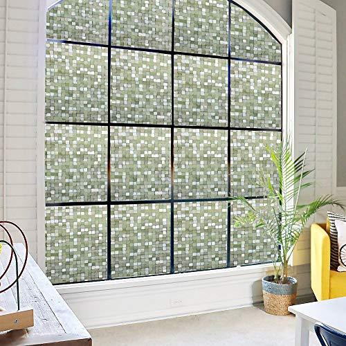 DUOFIRE3D窓用フィルム目隠しシートガラスフィルム断熱遮光結露防止紫外線UVカット水で貼る貼り直し可能装飾フィルムおしゃれ[モザイク014](0.9MX2M)