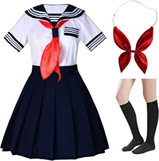 Japanese School Girls Short Sleeve Uniform Sailor Navy Blue Pleated Skirt Anime Cosplay Costumes with Socks Set