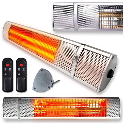 FUTURA Deluxe Wall Mounted Electric Infrared Outdoor Garden Patio Heater, Bathroom Heater 2000W, Waterproof, Remote Control Included