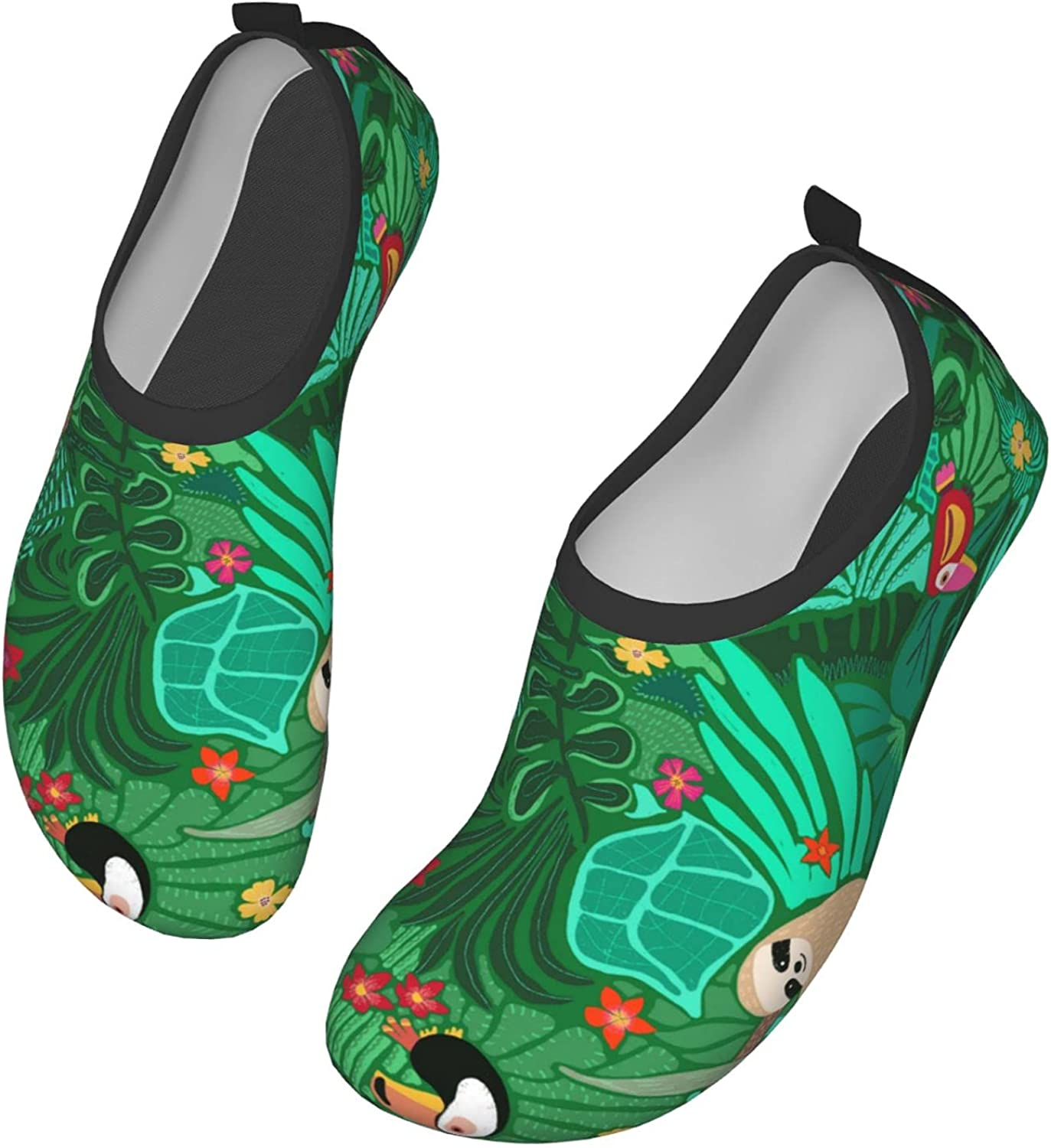 Cute Sloth Green Leaves Water Shoes Mens Womens Wading Shoe Quick Dry Barefoot Swim Beach Shoes for Pool Yoga Surfs Exercise