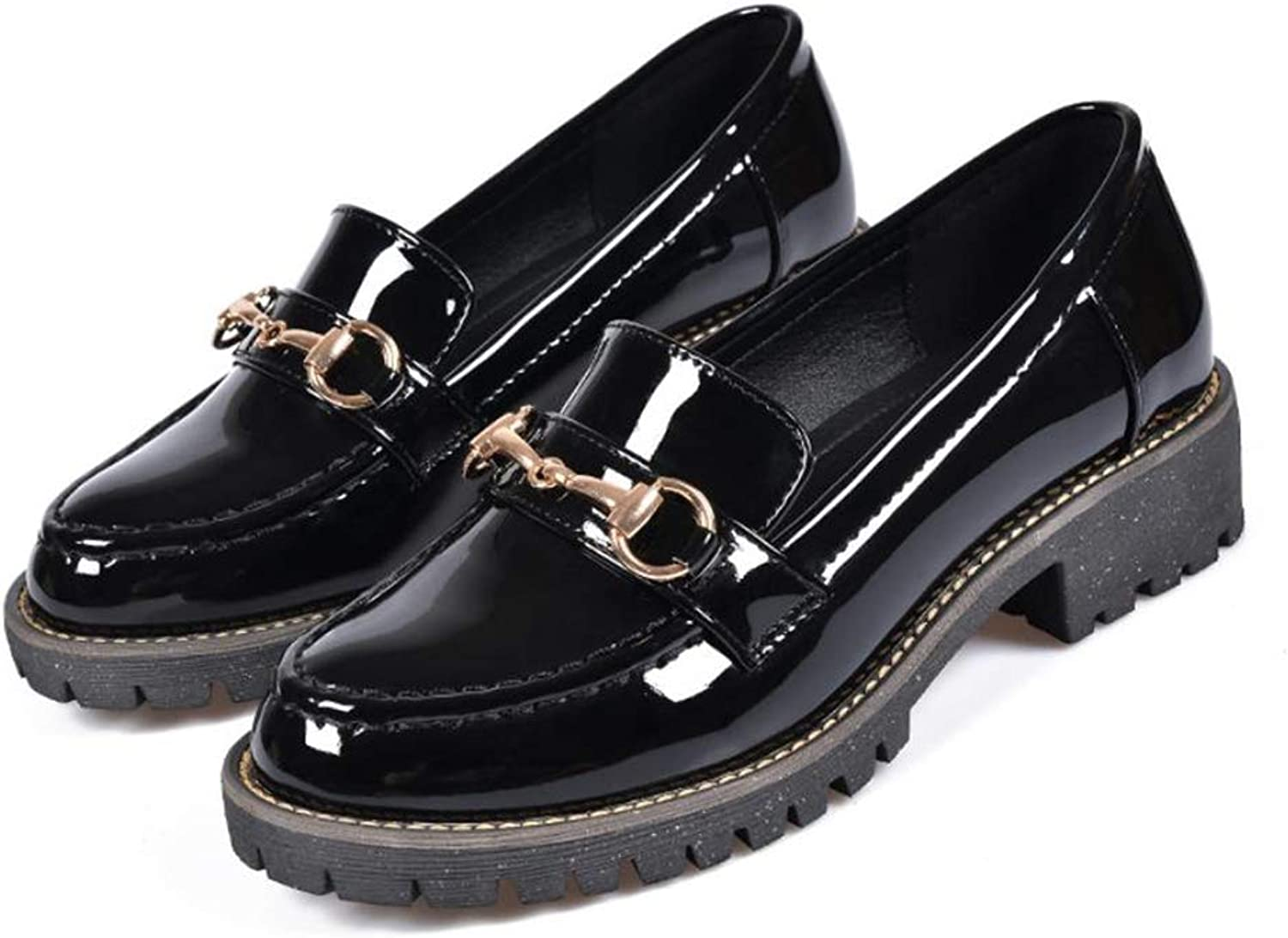 Dolwins Women's Low Heel Bow Patent Leather Slip On shoes