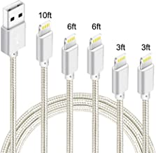 5Pack (3ft,3ft,6ft,6ft,10ft) Nylon Braided Charging Cord Charger Compatible with PhoneX/8/8Plus 7/7 Plus/6s/6s Plus/6/6 Plus/5s/55se,Pad,Pod and More (Silver White)