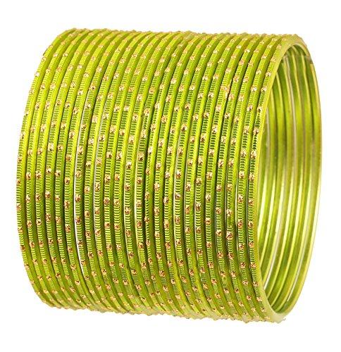 Touchstone 2 Dutzend Armreifen Sammlung Legierung Metall Henna Schmuck spezielle Armreifen Armbänder für Damen 2.75 Set 2 Henna Grün