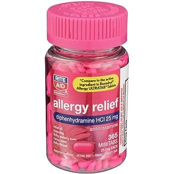 Rite Aid Antihistamine Allergy Relief with Diphenhydramine, 25 mg - 365 Count   Allergy Medicine Minitabs
