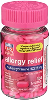 Rite Aid Antihistamine Allergy Relief with Diphenhydramine, 25 mg - 365 Count | Allergy Medicine Minitabs