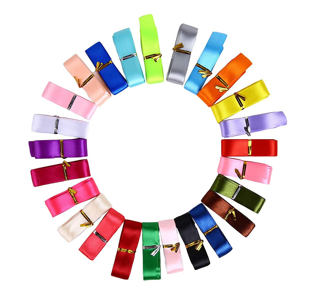 50 Yards Farbic Satin Ribbon 1 inch with 25 Colors Solid Hair Bow Party Wedding Supply