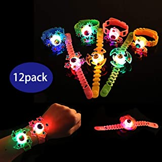 Glory Island Light Up Bracelets for Kids, Birthday Party Favors for Kids, 12 Pack Spin Stress Relief Anxiety Toys, Boys and Girls LED Neon Flashing Party Supplies