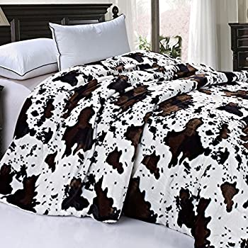 Home Soft Things Soft and Thick Faux Fur Sherpa Backing Bed Blanket Cows Flower 86  x 92