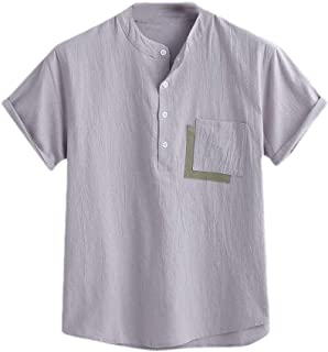 MogogN Mens Linen Summer Relaxed-Fit Buttoned Short Sleeve Stylish Dress Shirts