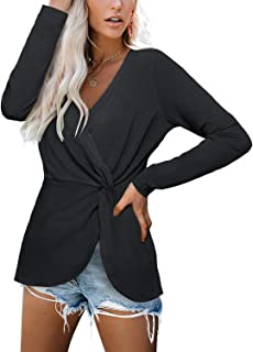 Women's Casual Long Sleeve Wrap Shirt V-Neck Twist Knotted Tunic Blouse Tops