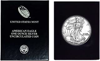 1998 - American Silver Eagle in Plastic Air Tite and Blue Gift Box with our Certificate of Authenticity Dollar Uncirculated Us Mint