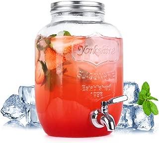 FZCRRDU KOCCAE 1 Gallon Beverage Dispenser,Clear Glass Drink Dispenser with Stainless Steel Spigot,FOR COLD BEVERAGES ONLY!,Mason Jar drink dispenser,Clear