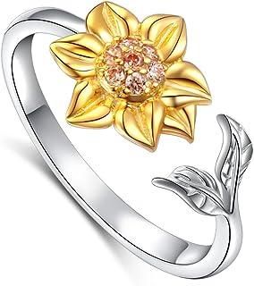 Daochong - Gioielli da donna in argento Sterling 925, orecchini, collana con pendente, anello aperto regolabile, decorati ...