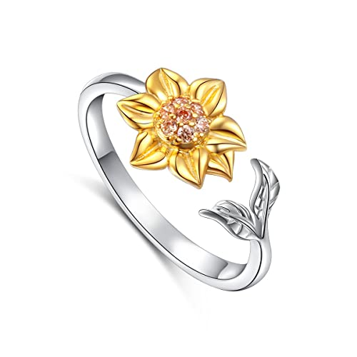 Princess Kylie Oxidized Sterling Silver Sunflower Design Ring