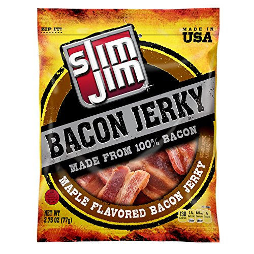 Slim Jim Bacon Jerky, Maple, 2.75 Ounce, Pack of 8