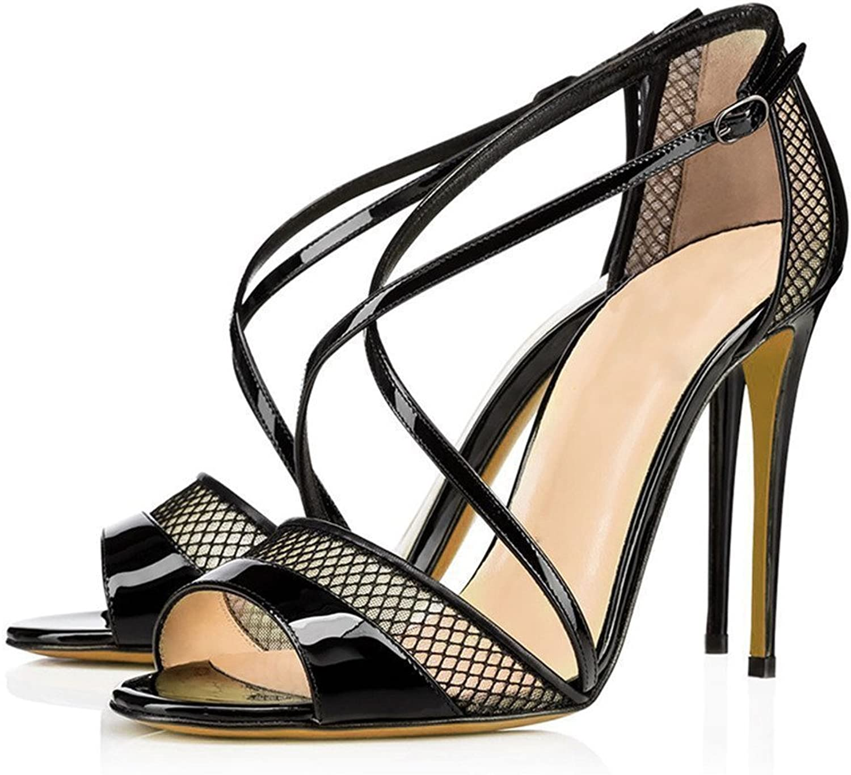 AIWEIYi Womens Peep Toe Cross Strap Strappy Stiletto High Heels Dress Sandals Black