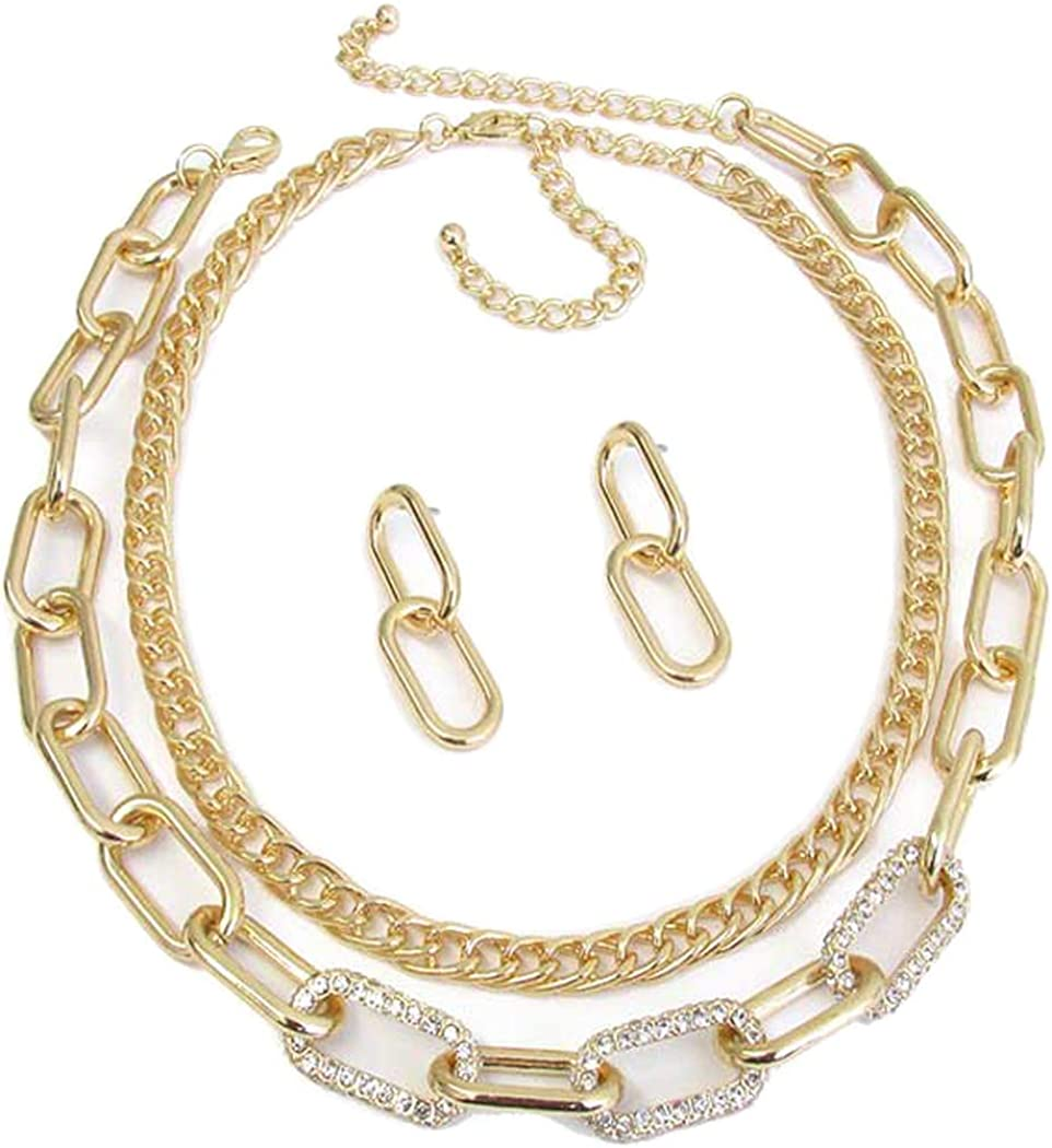 Fashion Jewelry ~ Double Chunky Chain with Crystal Necklace and Earrings Set Goldtone for Women Teens Girlfriends Birthday Gifts…
