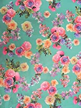 Watercolor Floral Pattern on Stretch Scuba Polyester Spandex Fabric (Teal)
