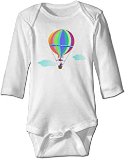 Toddler Baby Girls Bodysuit Short-Sleeve Onesie Hot Air Balloon Print Rompers Summer Pajamas