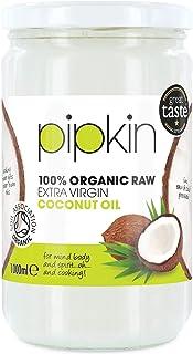 pipkin Aceite de Coco 100% Orgánico, Natural, Virgen Extra Puro. Aceite de coco Multiusos, Prensado en Frío, no GM, Hidratante de Cabello / Piel / Cuerpo. (1L)