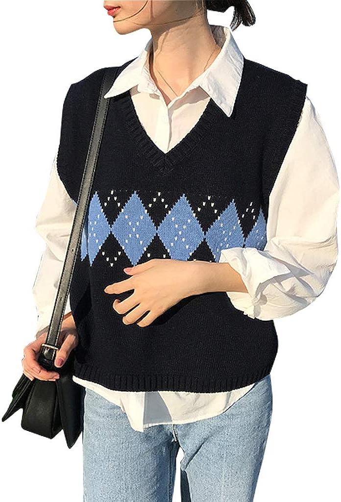 Women Sweater Vest Autumn Aesthetic Vintage Geometric Argyle V Neck Sleeveless Pullover Knit School Girl Sweaters