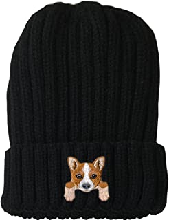 [ Welsh Corgi ] Cute Embroidered Puppy Dog Warm Knit Fleece Winter Beanie Skull Cap