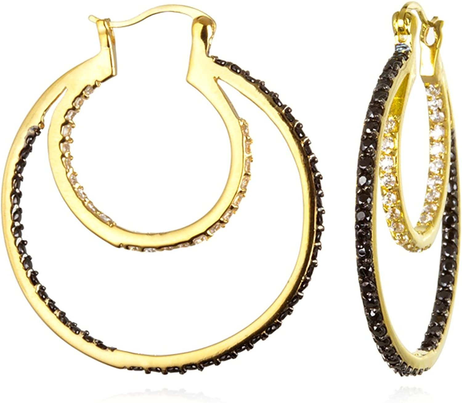 Sterling Silver gold and Black Rhodium Plate Black and White CZ Double Tier Circle Hoop Earring