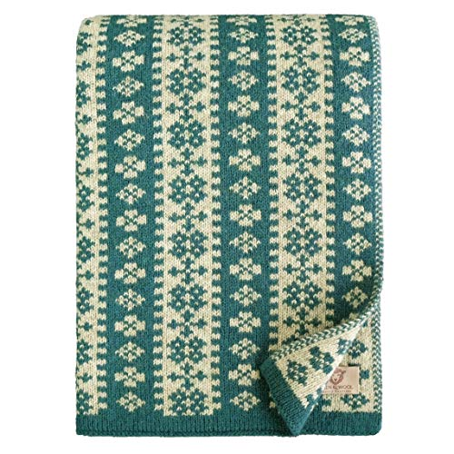 Linen & Cotton Luxus Warme Decke Wolldecke Gestrickt Arctic - 100% Reine Neuseeland Wolle, Türkis Blau (130 x 180cm) Wohndecke Kuscheldecke Strick Sofadecke Strickdecke Plaid Schurwolle Couch Sofa