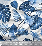 Soimoi Blau Viskose Chiffon Stoff Monstera Blatt & Blumen-