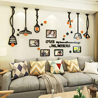 Baigio Woman Large Family Tree Wall Decals 3D DIY Photo Frame Acrylic Wall Stickers Mural for Living Room Sofa TV Art Wall Background (Lamp-Orange)