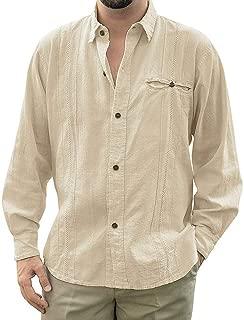 Mens Loose Fit Cuban Camp Guayabera Linen Shirts Long Sleeve Casual Button Down Beach Shirts