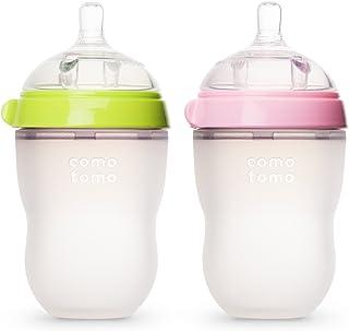 Comotomo 婴儿奶瓶 绿色、粉色 8 盎司(约236.6毫升)2件装
