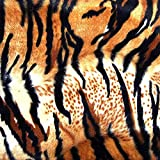 Barcelonetta | Animal Print Fur Fabric | Velboa Fabric | Faux Animal Fur | Short Pile | Animal Texture | 62'' Inch Wide | DIY Crafts, Decoration, Upholstery (Tiger Siberian, 2 Yard)